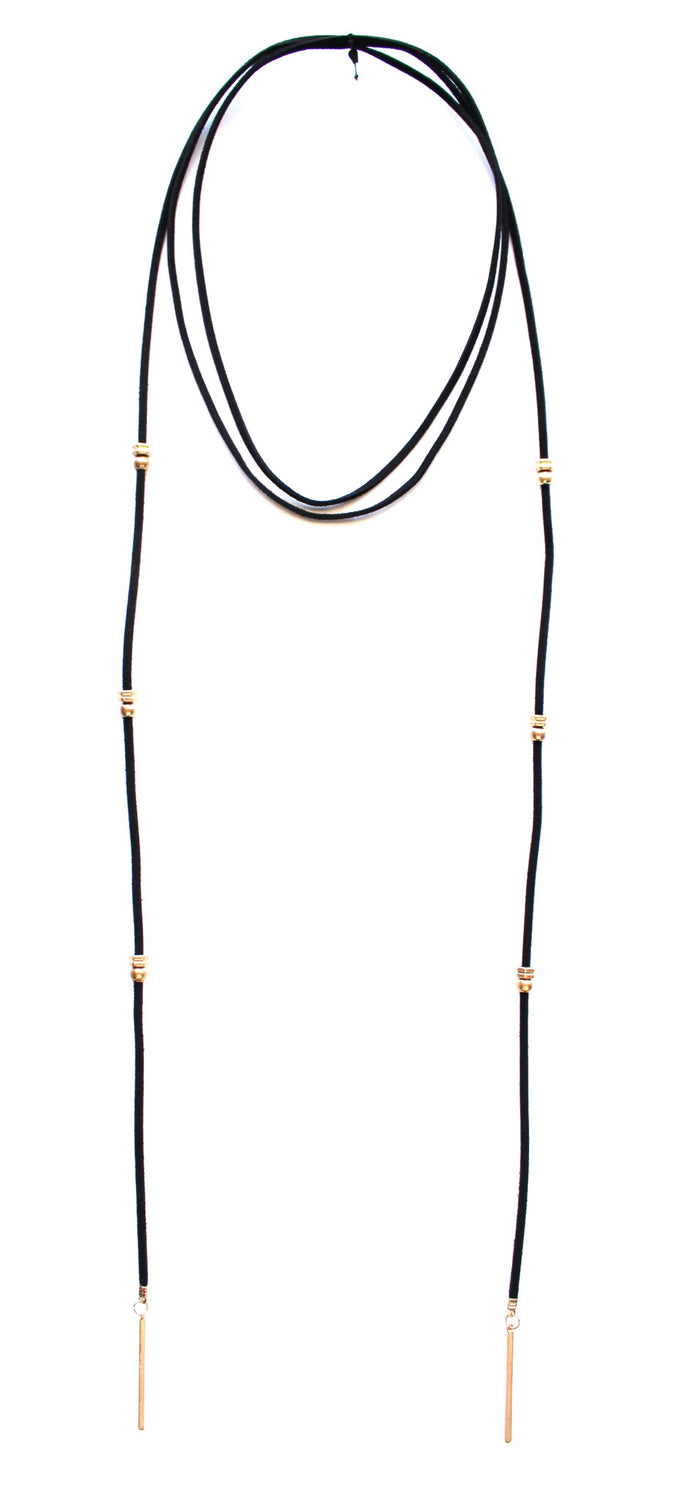 Rock Stud Wrap Choker Necklace- Black