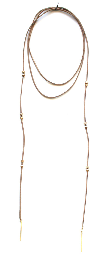 Rock Stud Wrap Choker Necklace- Beige
