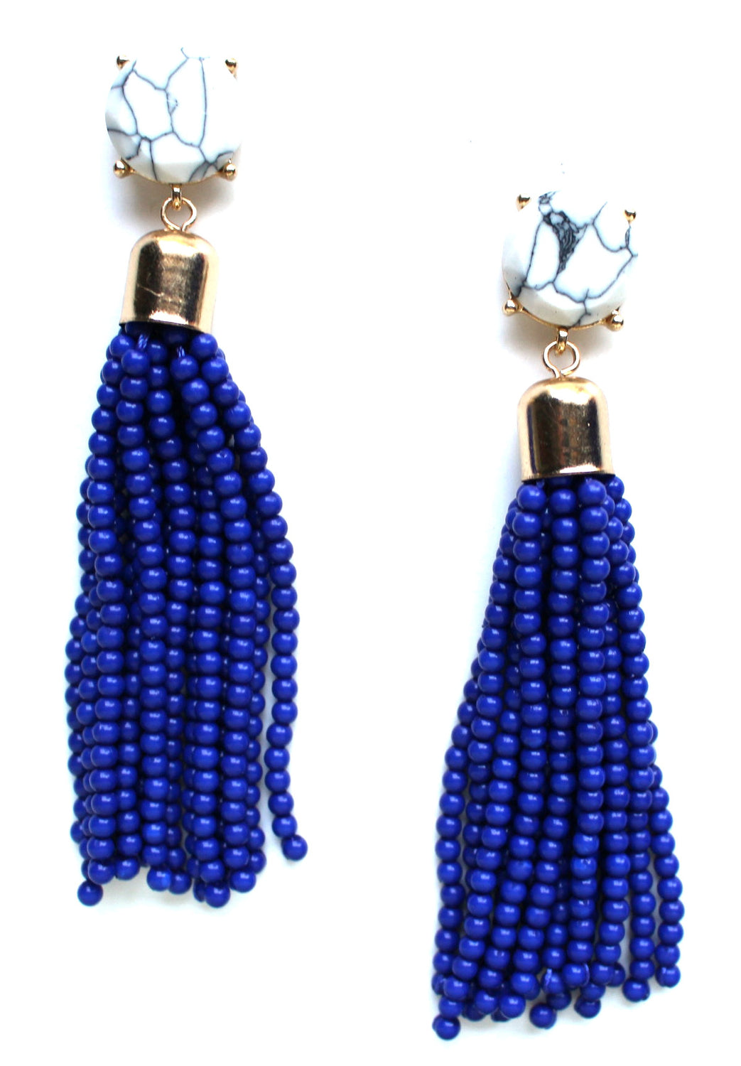 Sweet Treat Tassel Earrings- Navy Blue