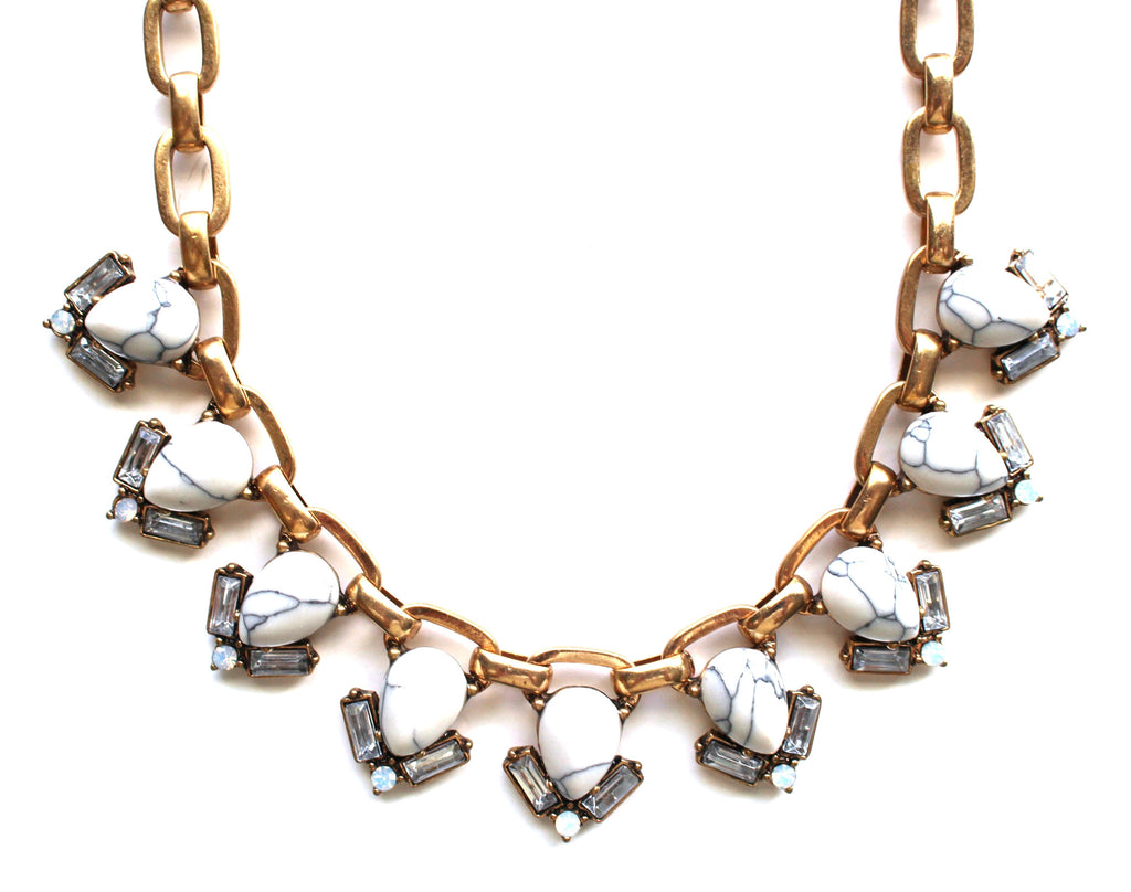 Marble Teardrop Collar Necklace