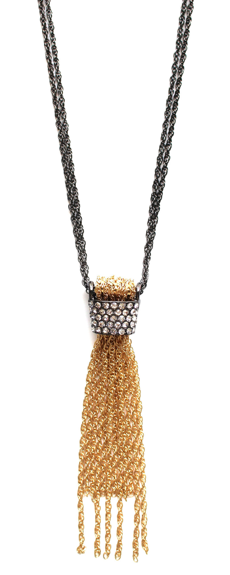Gina Two-Tone Embellished Tassel Necklace