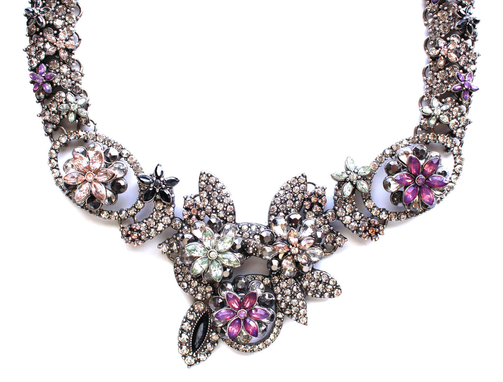 Luxe Floral Frosting Statement Collar Necklace