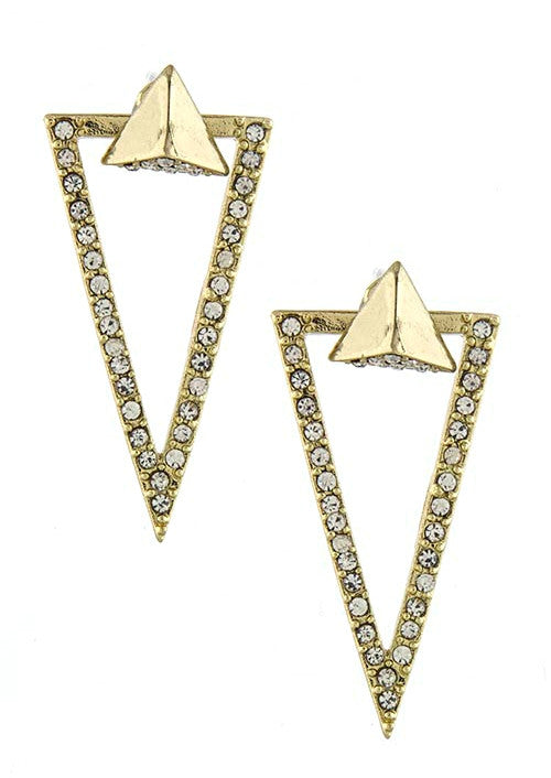 Rhinestone Triangle Ear Jackets-Gold