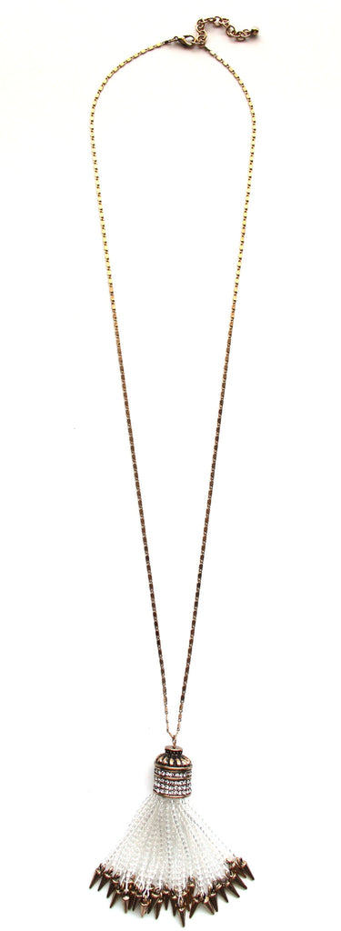 Crissy Beaded Tassel Long Necklace