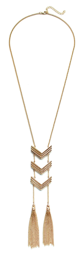 Triple Chevron Tassel Necklace