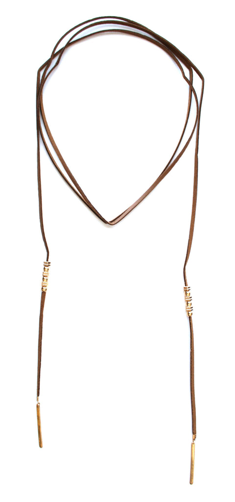 Rock Stud Choker Necklace Set- Tan