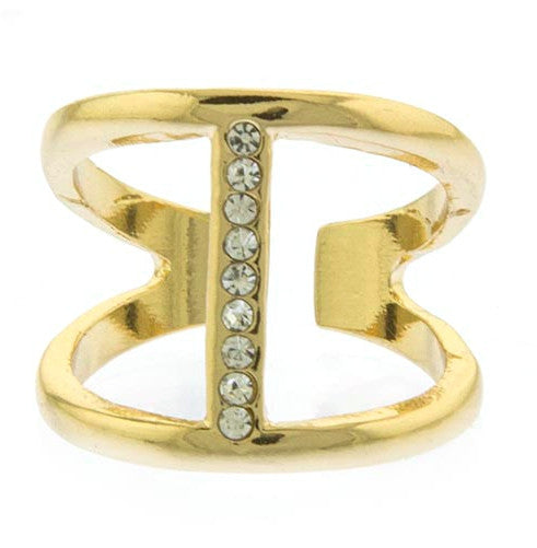 Vertical Crystal Bar Accent Ring- Gold