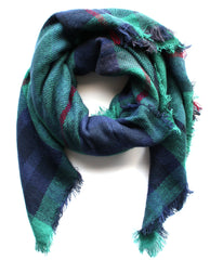 Mad For Plaid Blanket Scarf- Green Multi