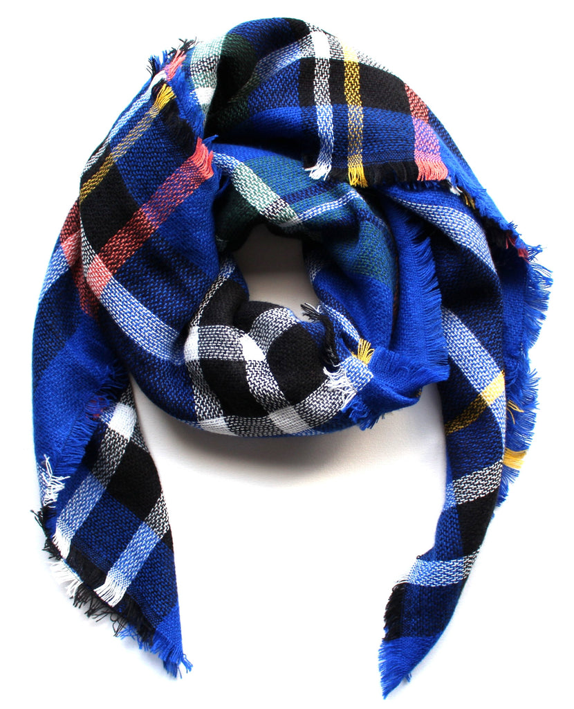 Mad For Plaid Blanket Scarf- Blue Multi