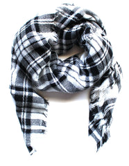 Mad For Plaid Blanket Scarf- White & Black