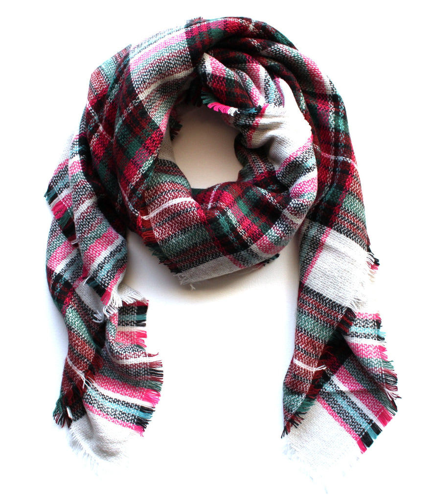 Mad For Plaid Blanket Scarf- Pink Multi