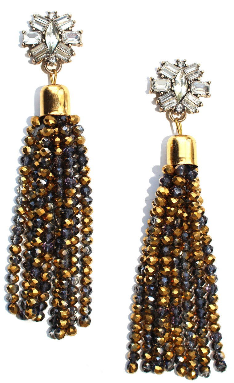 Golden Mix Jeweled Statement Earrings