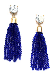 Sweet Treat Jeweled Tassel Earrings- Navy