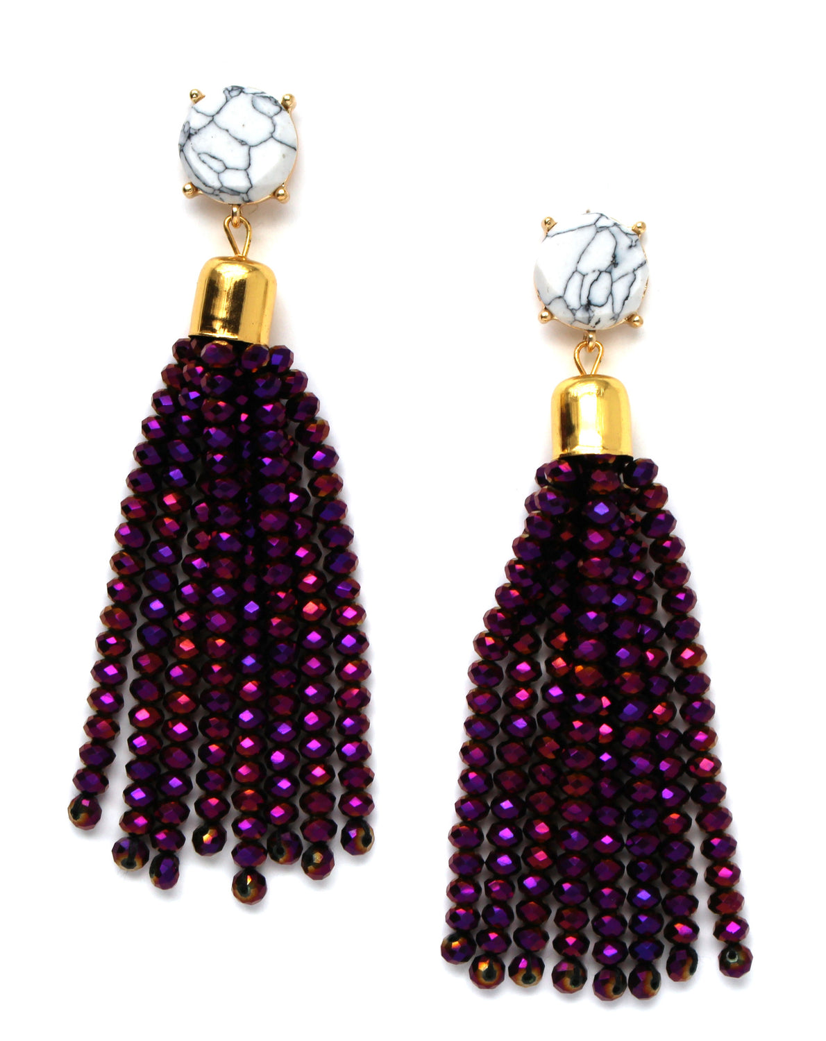 Sweet Treat Jeweled Tassel Earrings- Purple Multi
