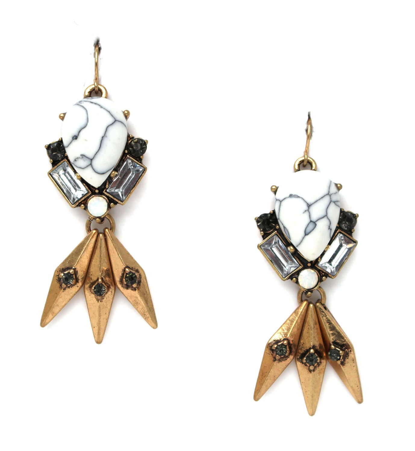 Marble Teardrop Fringe Earrings