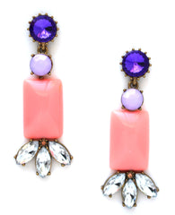 Crystal Color Stone Earrings