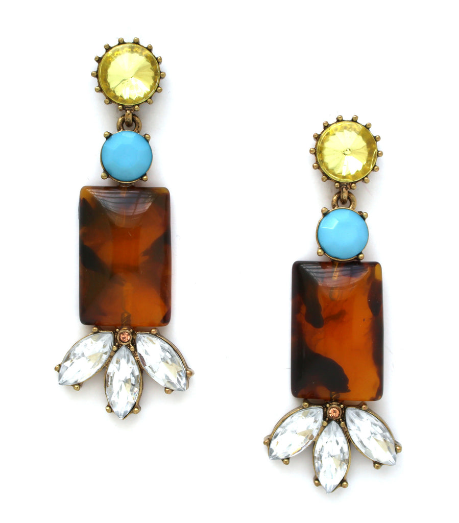 Tortoise & Turquoise Crystal Stone Earrings