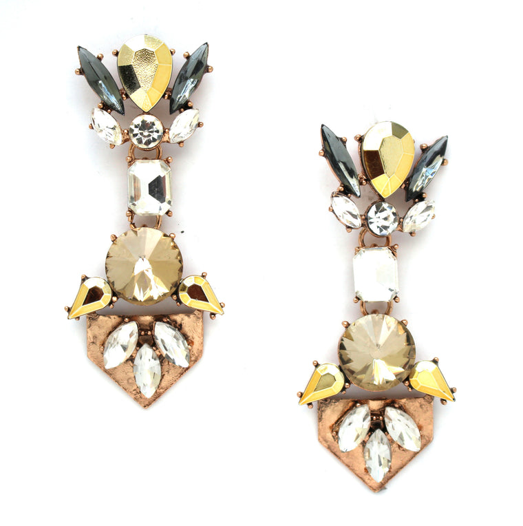 Luxe Golden Crystal Earrings