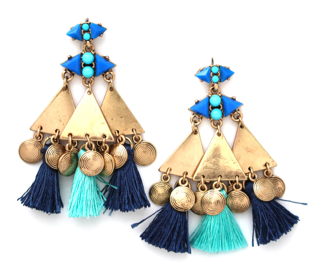 Gypsy Blues Tassel Earrings