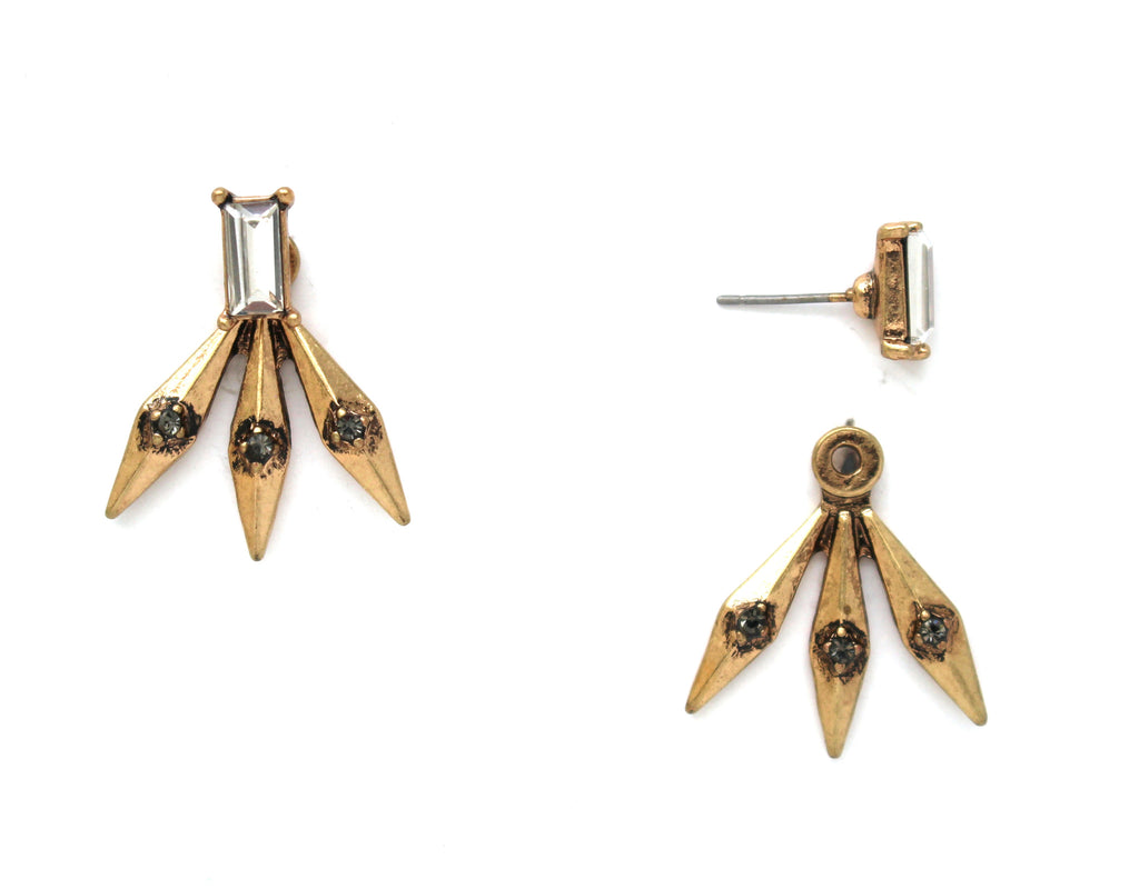 Golden Spike Ear Jacket Earrings