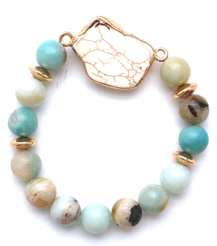 Beaded Stone Stretch Bracelet- Multi Natural