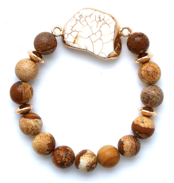 Beaded Stone Stretch Bracelet- Wooden Natural