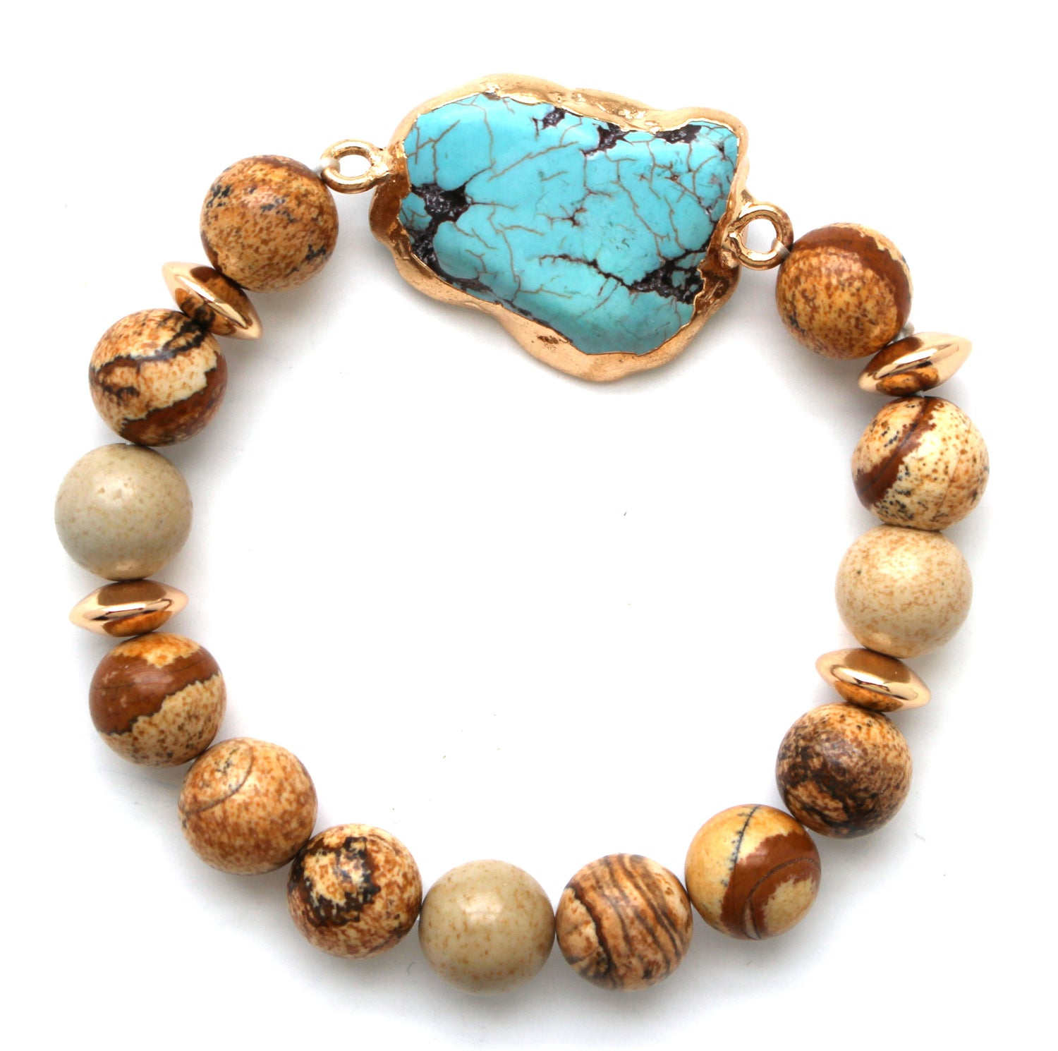 Beaded Stone Stretch Bracelet- Wooden Turquoise