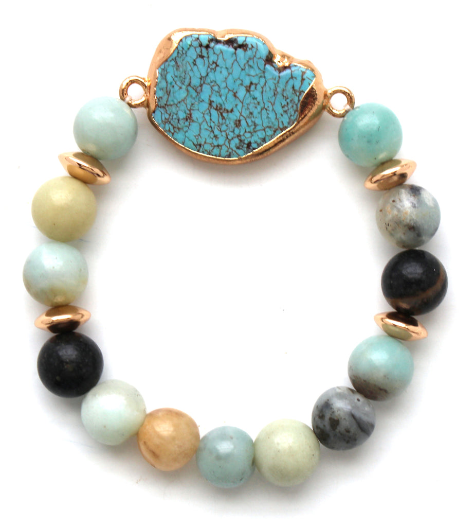 Beaded Stone Stretch Bracelet- Multi Turquoise