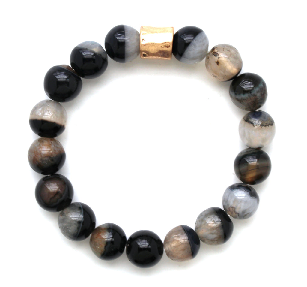 Beaded Stretch Bracelet- Black