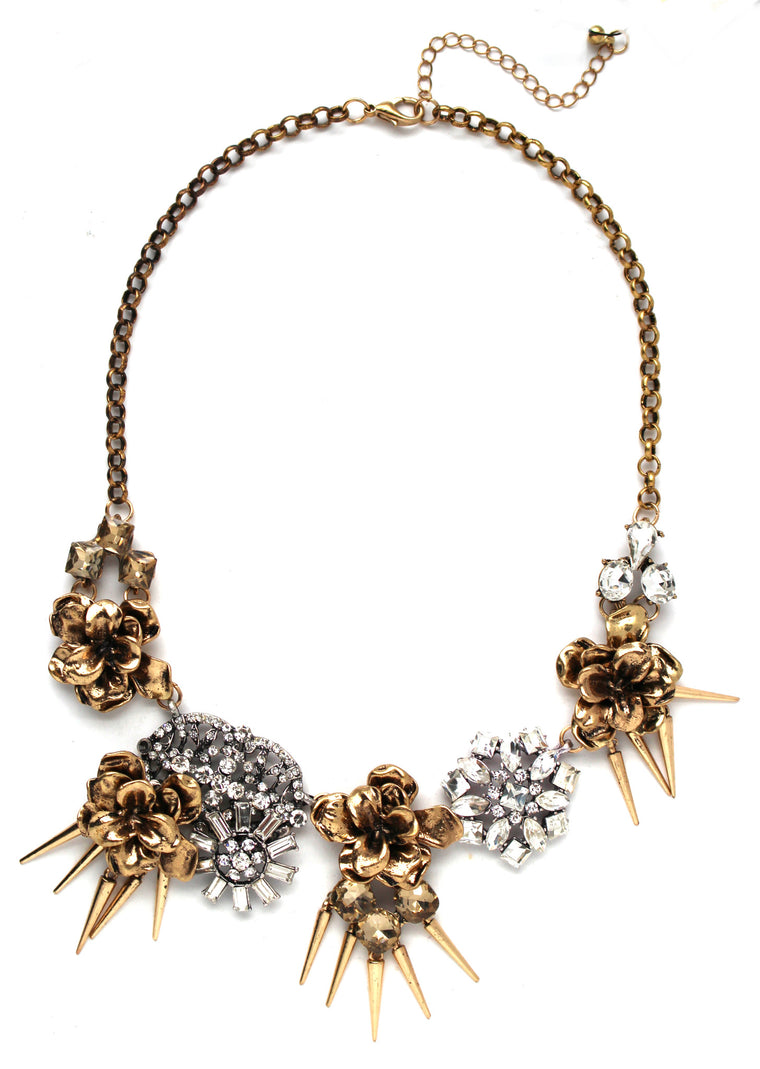 Golden Blooms Crystal Necklace
