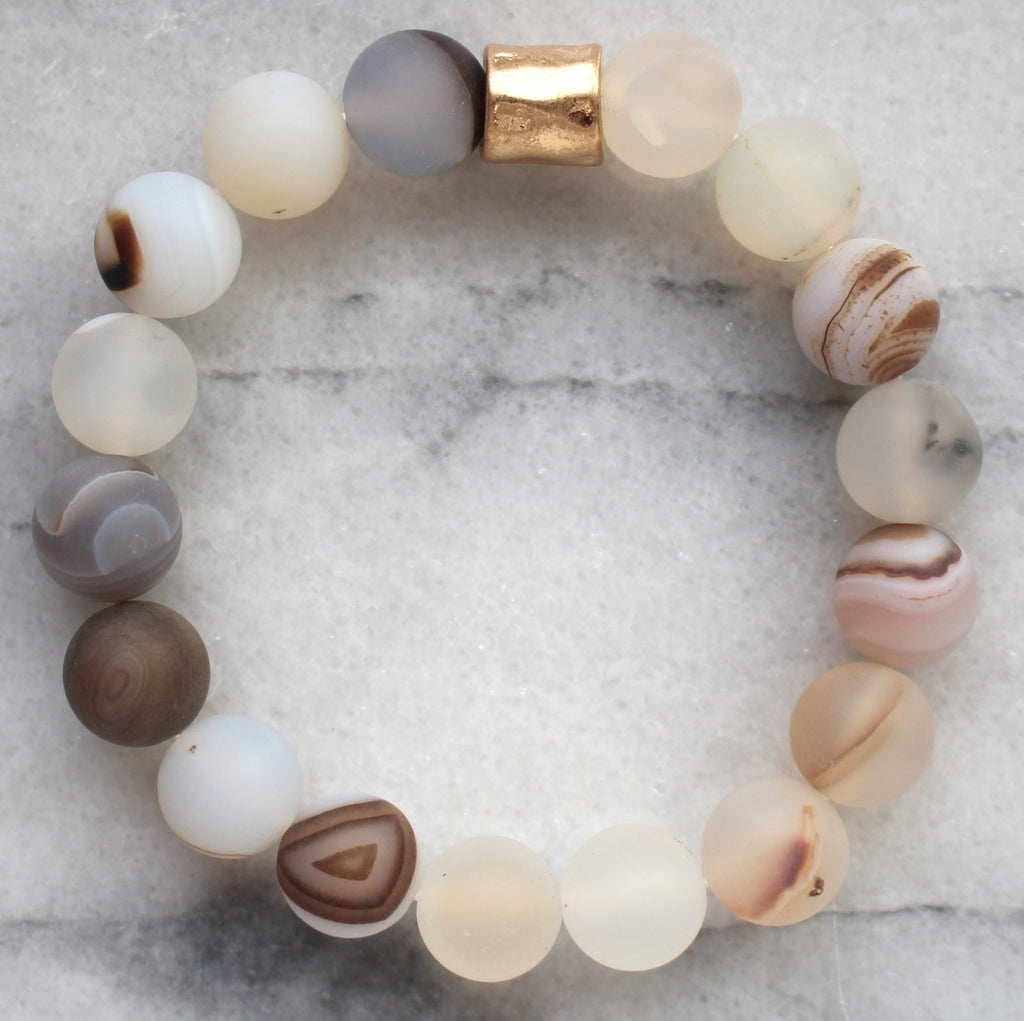 Beaded Stretch Bracelet- Natural Taupe