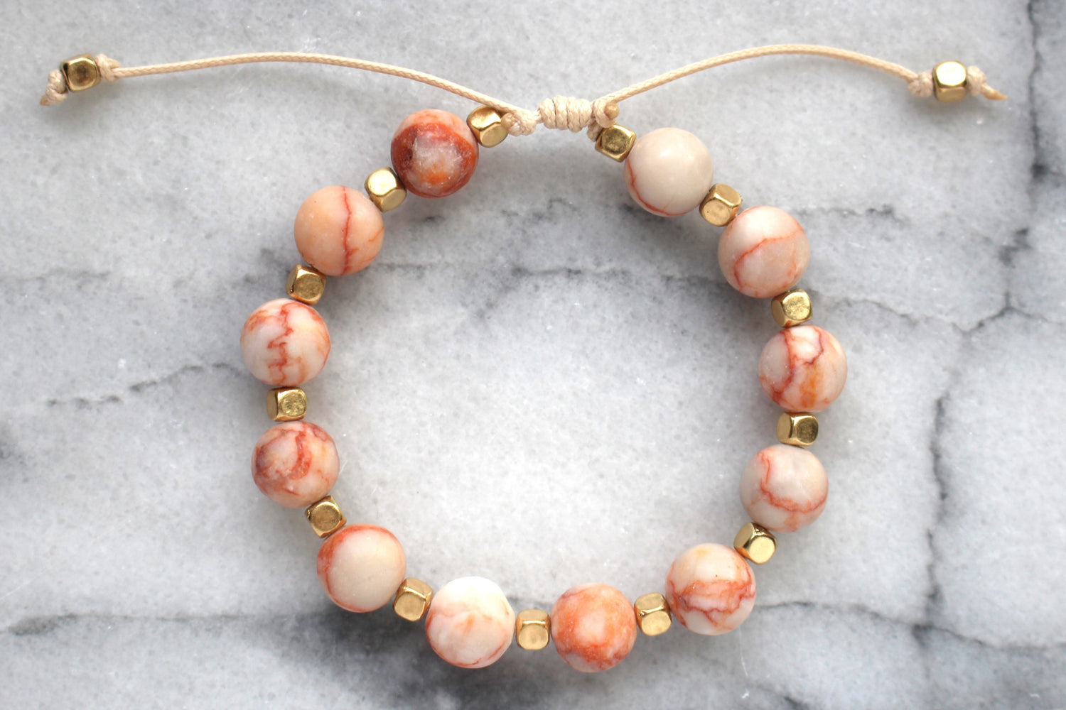 Beaded Thread Bracelet- Blush