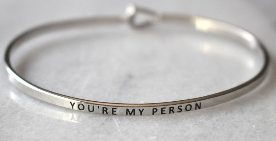 'You're My Person' Dainty Bangle Bracelet-Silver