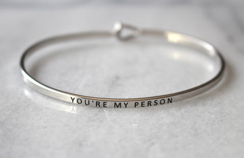 'You're My Person' Dainty Cuff Bracelet-Silver