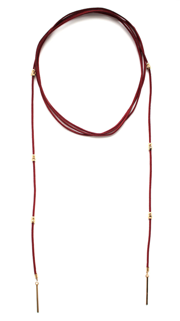 Rock Stud Wrap Choker Necklace- Red Wine