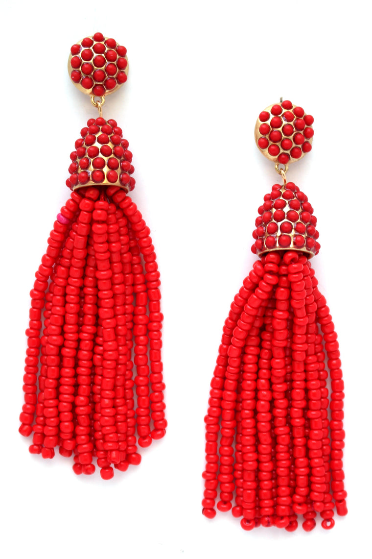 Victoria Joy Tassel Earrings- Red