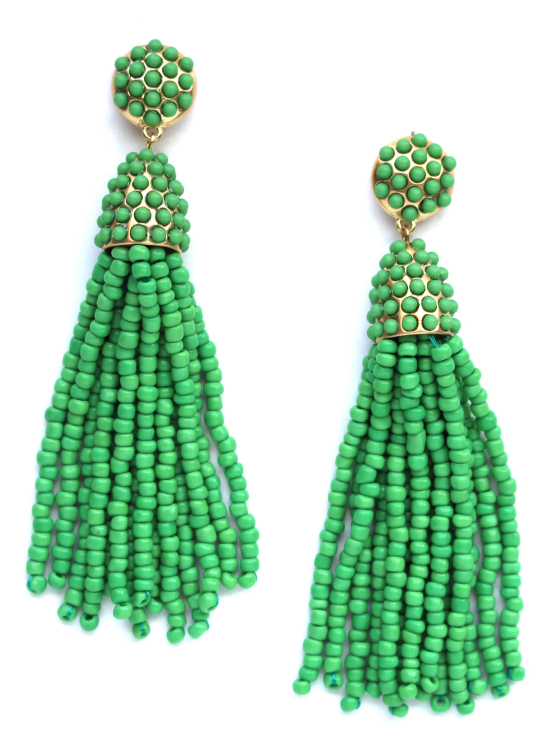Victoria Joy Tassel Earrings- Green