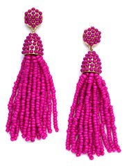 Victoria Joy Tassel Earrings- Hot Pink