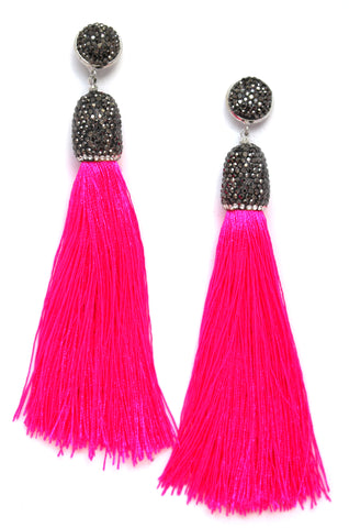 Catalina Shine Fringe Earrings- Hot Pink