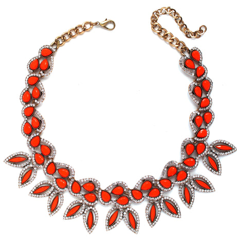 Iconic Petals Statement Necklace- Orange