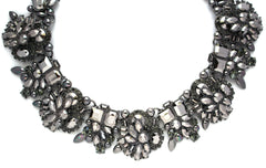 Paulina Bouquet Statement Choker Necklace- Gunmetal