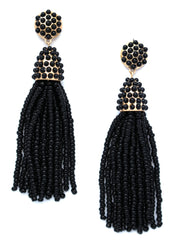 Victoria Joy Tassel Earrings- Black