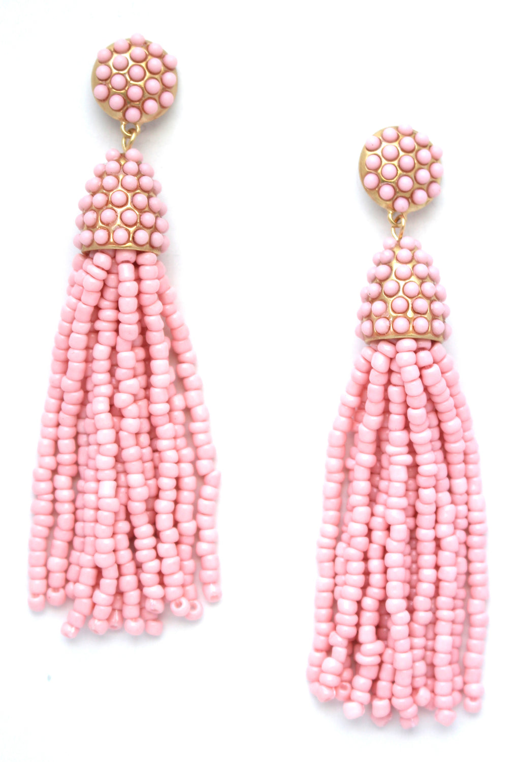 Victoria Joy Tassel Earrings- Light Pink