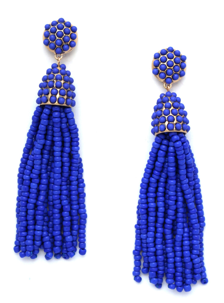 Victoria Joy Tassel Earrings- Royal