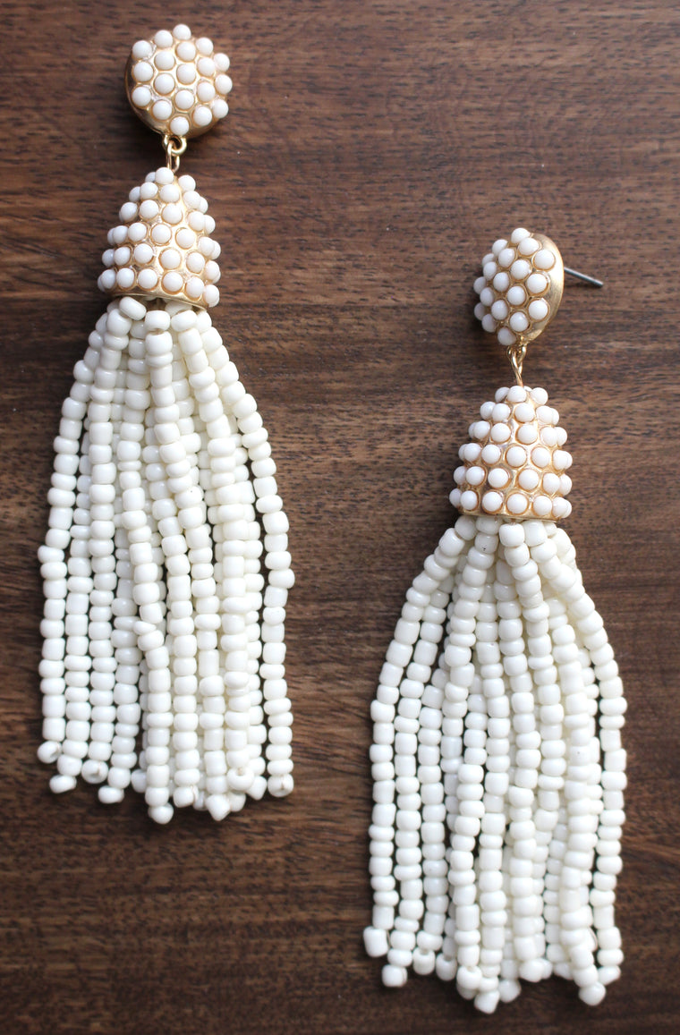 Victoria Joy Tassel Earrings- White