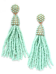 Victoria Joy Tassel Earrings- Mint