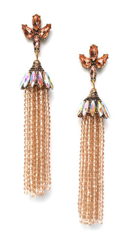 Bella Shine Tassel Earrings- Champagne