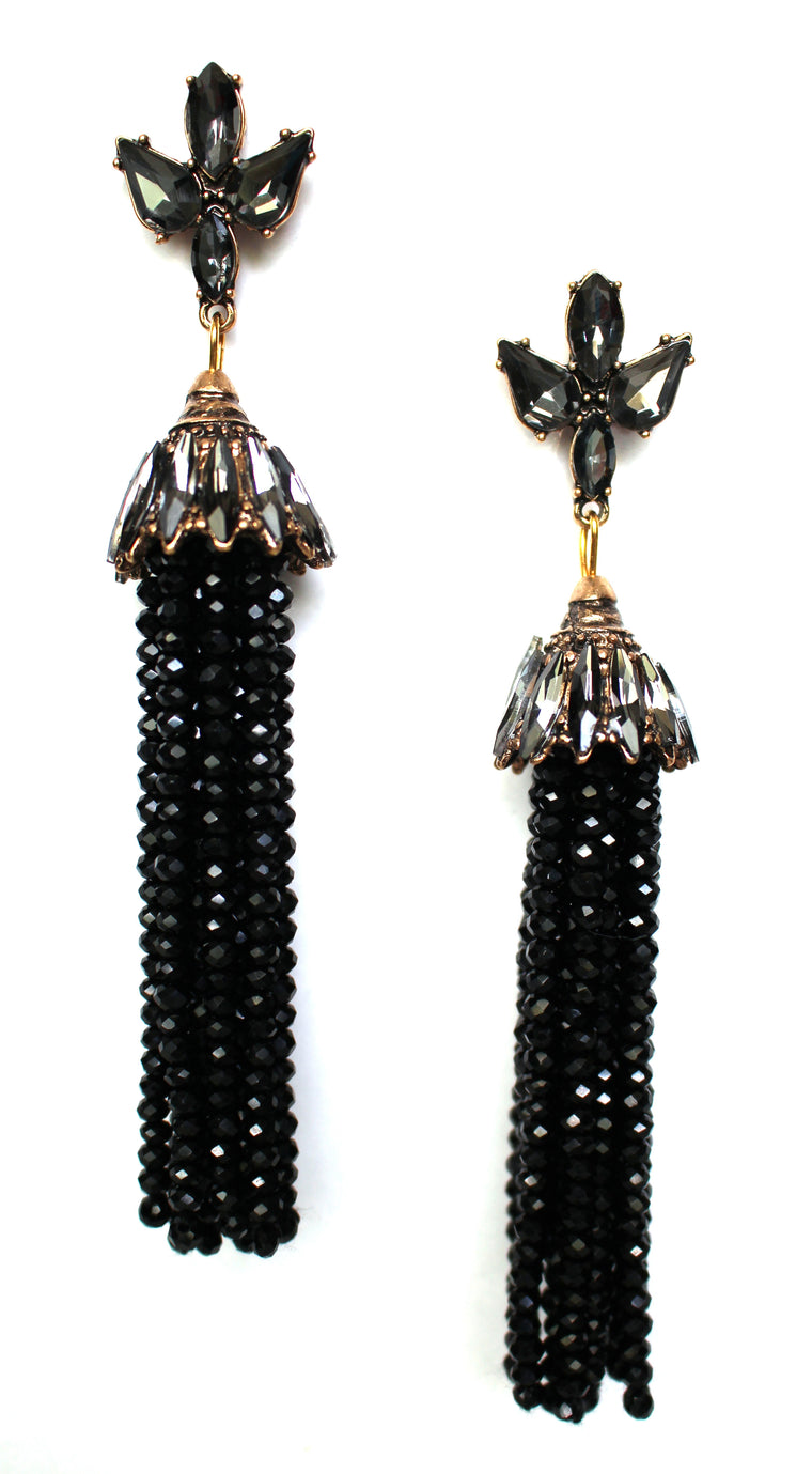 Bella Shine Tassel Earrings- Black