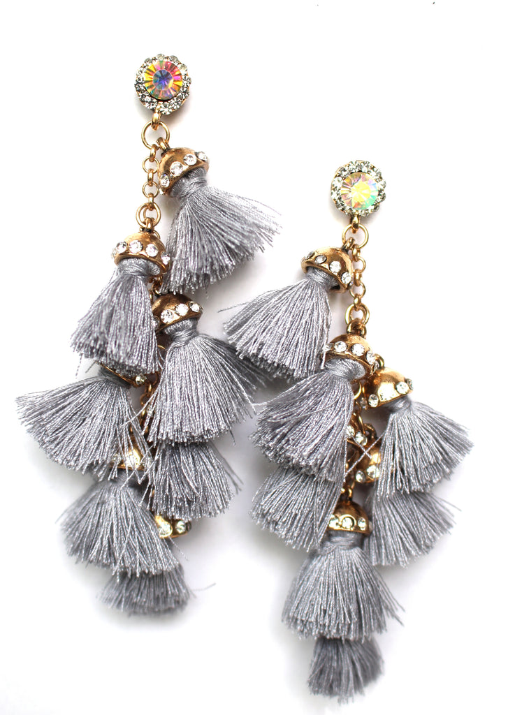 Havana Tassel Duster Earrings- Grey