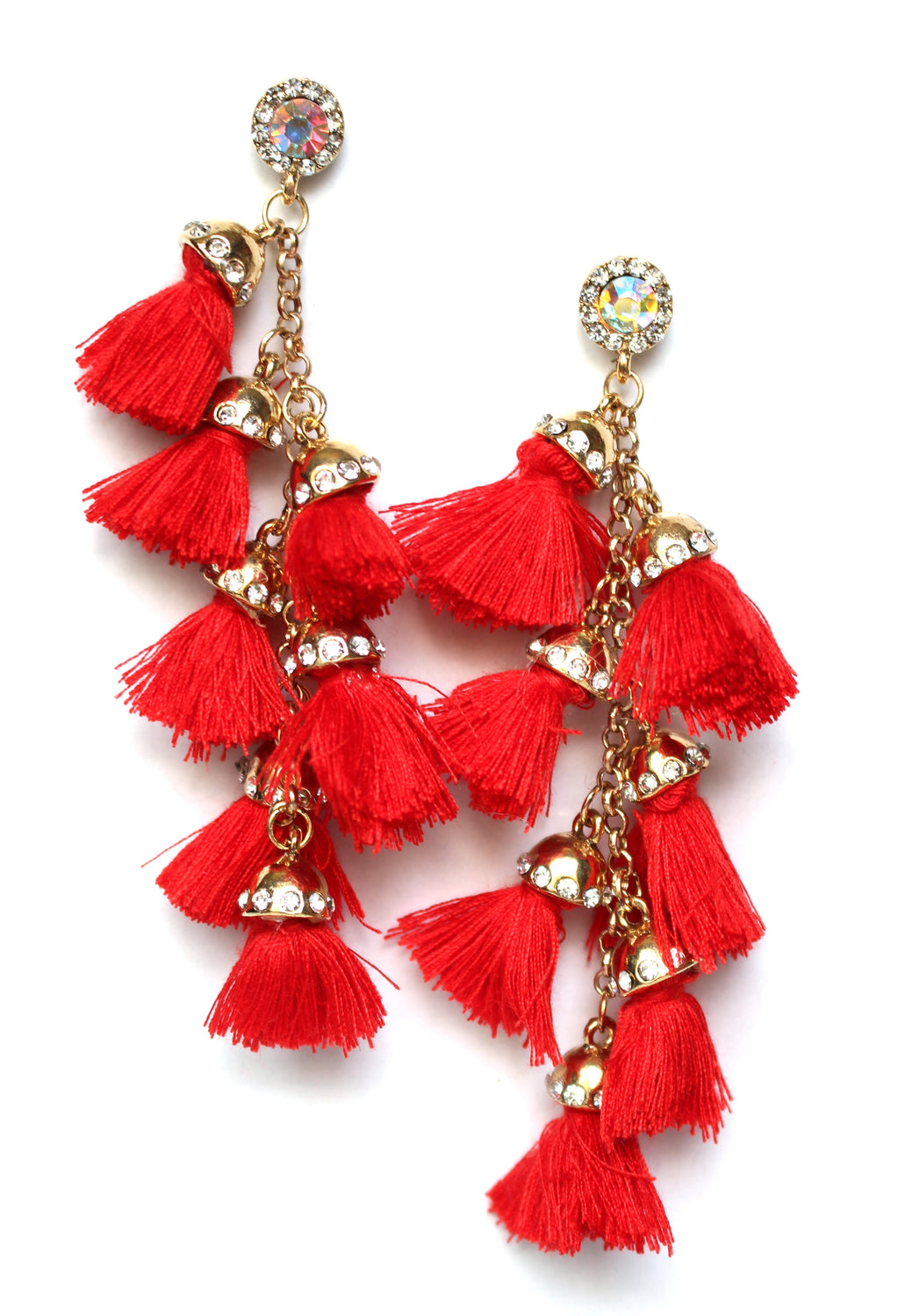 Havana Tassel Duster Earrings- Red